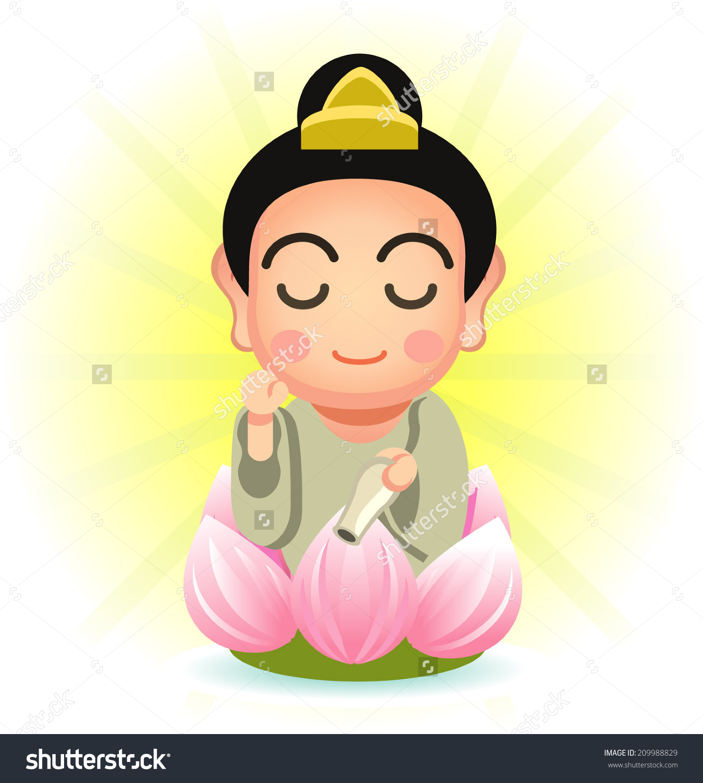 Chinese Religion Guanyin Stock Vector 209988829.