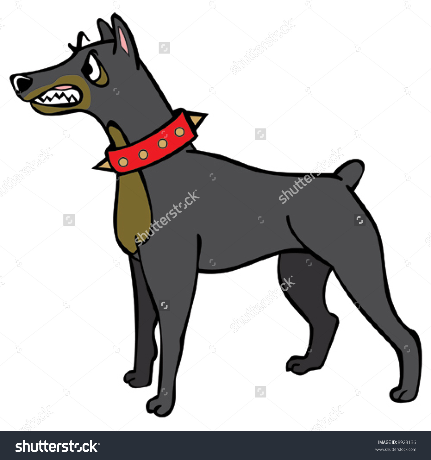 Vector Guard Dog Doberman Pinscher Baring Stock Vector 8928136.
