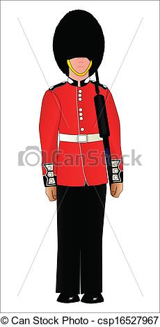 Clip Art Vector of British Soldier On Guard Duty.