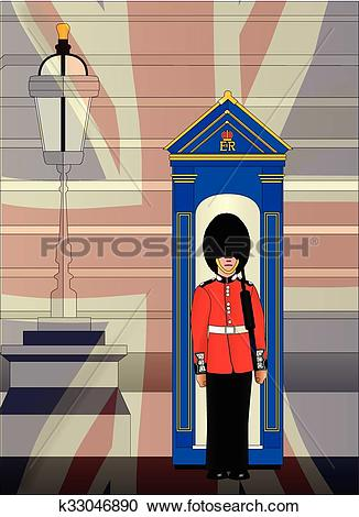 Clipart of Soldier On Royal Guard Duty k33046890.