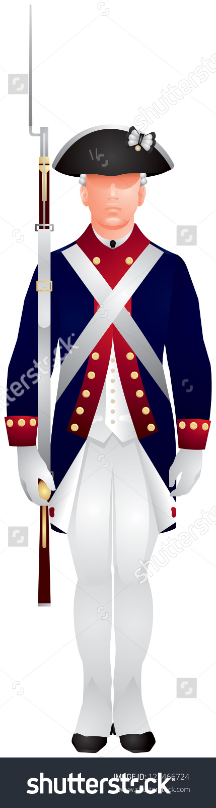 American Revolutionary War Soldier Continental Army Stock Vector.