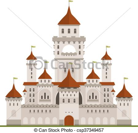Clipart Vector of Royal family castle with guard walls, main.