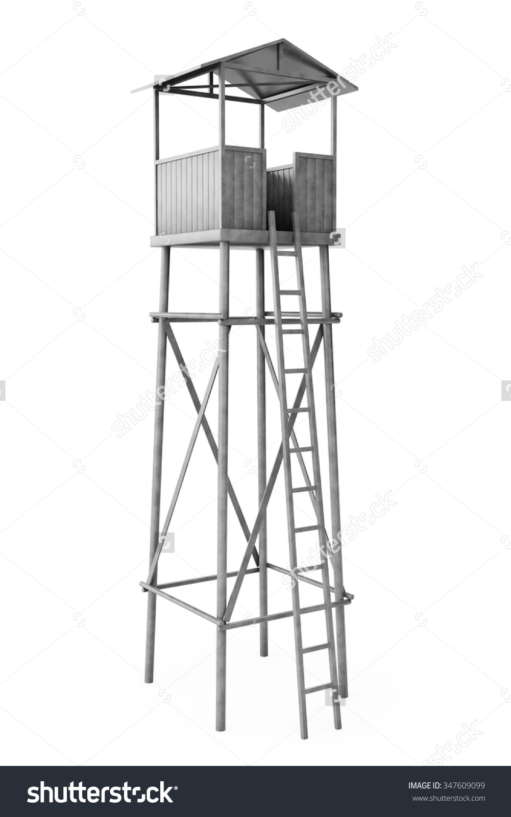 Old Wooden Watch Guard Tower On Stock Illustration 347609099.