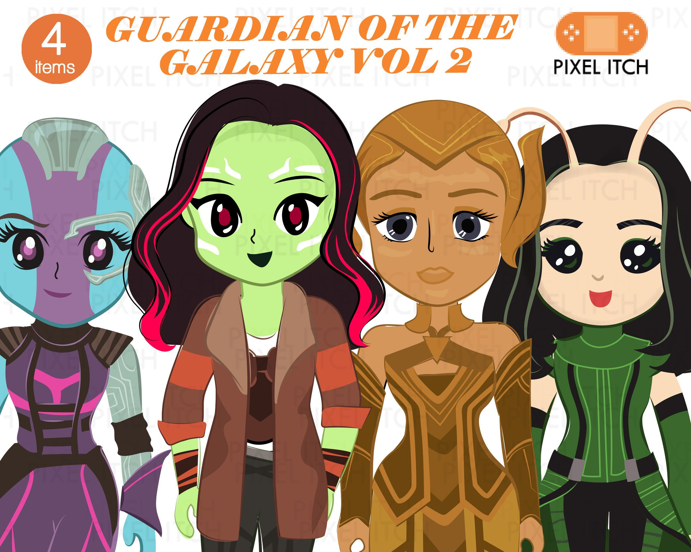 Guardian of The Galaxy Clipart. Female Characters.