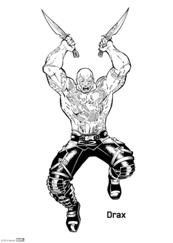 Drax from Guardians of the Galaxy coloring page.
