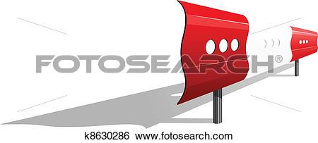 Clip Art of Illustration of a guardrail k8630286.