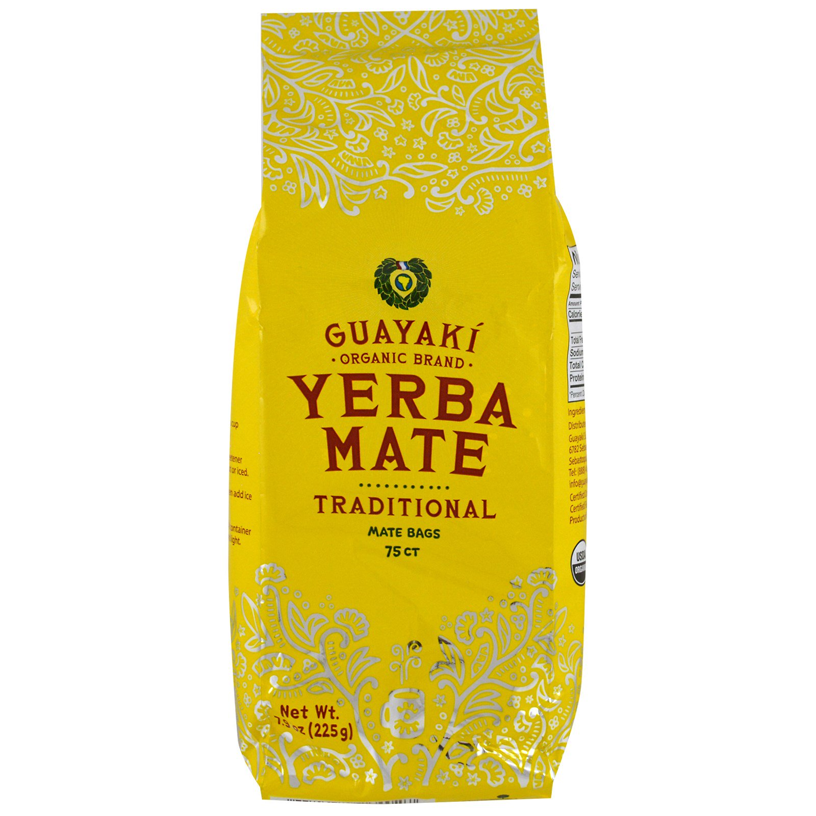 Guayaki, Yerba Mate, Traditional, 75 Tea Bags, 7.9 oz (225 g.