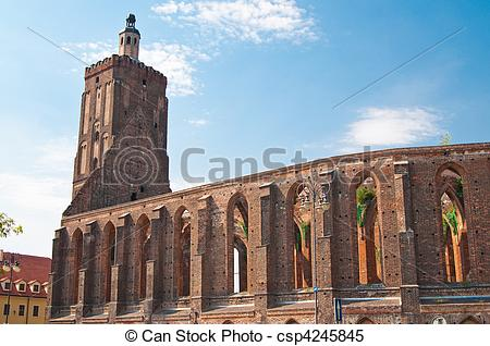 Stock Images of wreckage of gothic cathedral in Gubin (Poland.