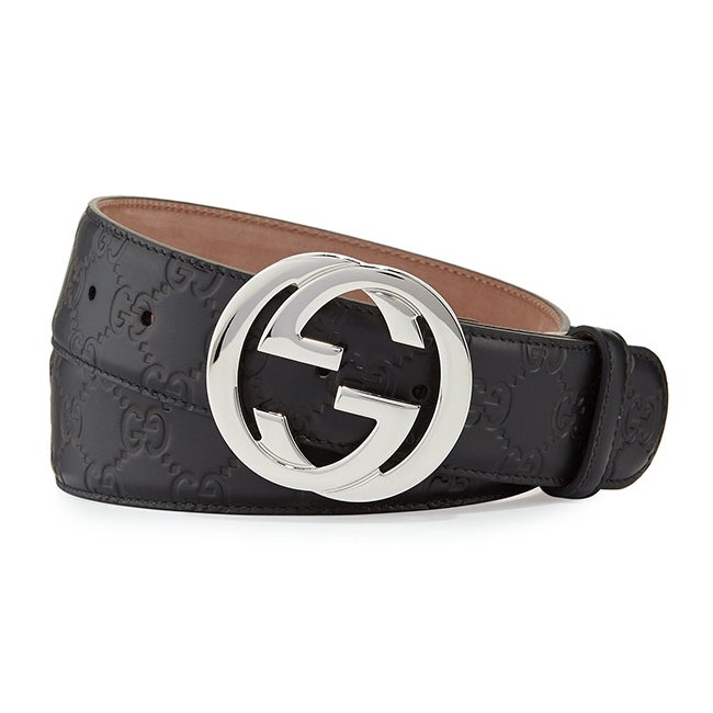 Authentic Gucci Black Leather Interlocking Shiny Silver Logo Buckle Belt.