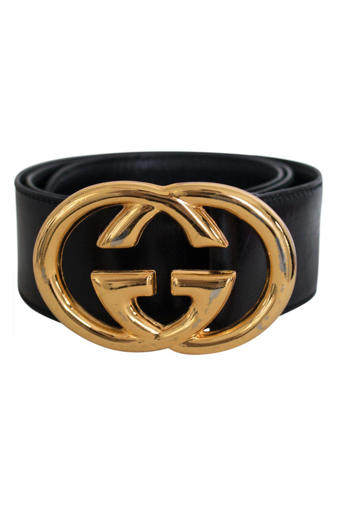 Vintage Gucci Belt with Large Gold Logo.