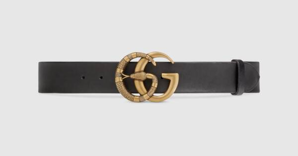 Printed Black Leather Belt With Double G Buckle Snake.