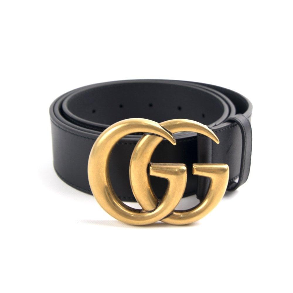 Leather Belt GG Buckle Black/Gold.