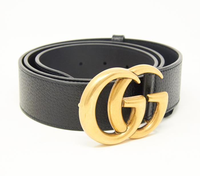 Gucci Black GG Belt Gold Logo.