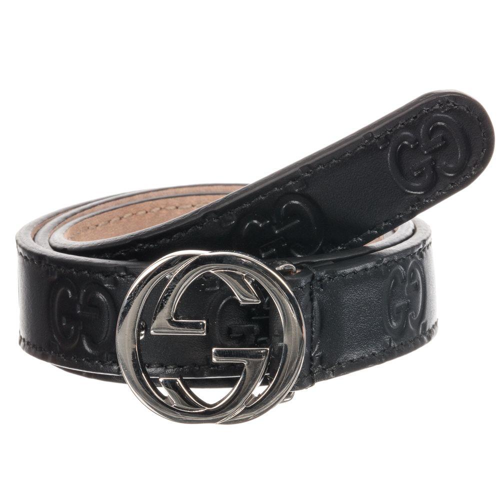 Black Leather GG Logo Belt.