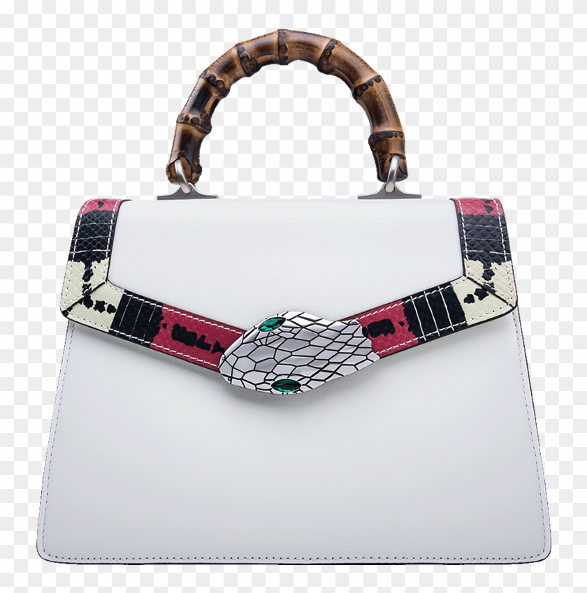 Gucci Snake Pattern Leather Bamboo Top Handle Bag.