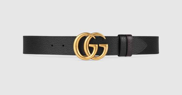 Black / Brown Leather Reversible Belt With Double G Buckle.
