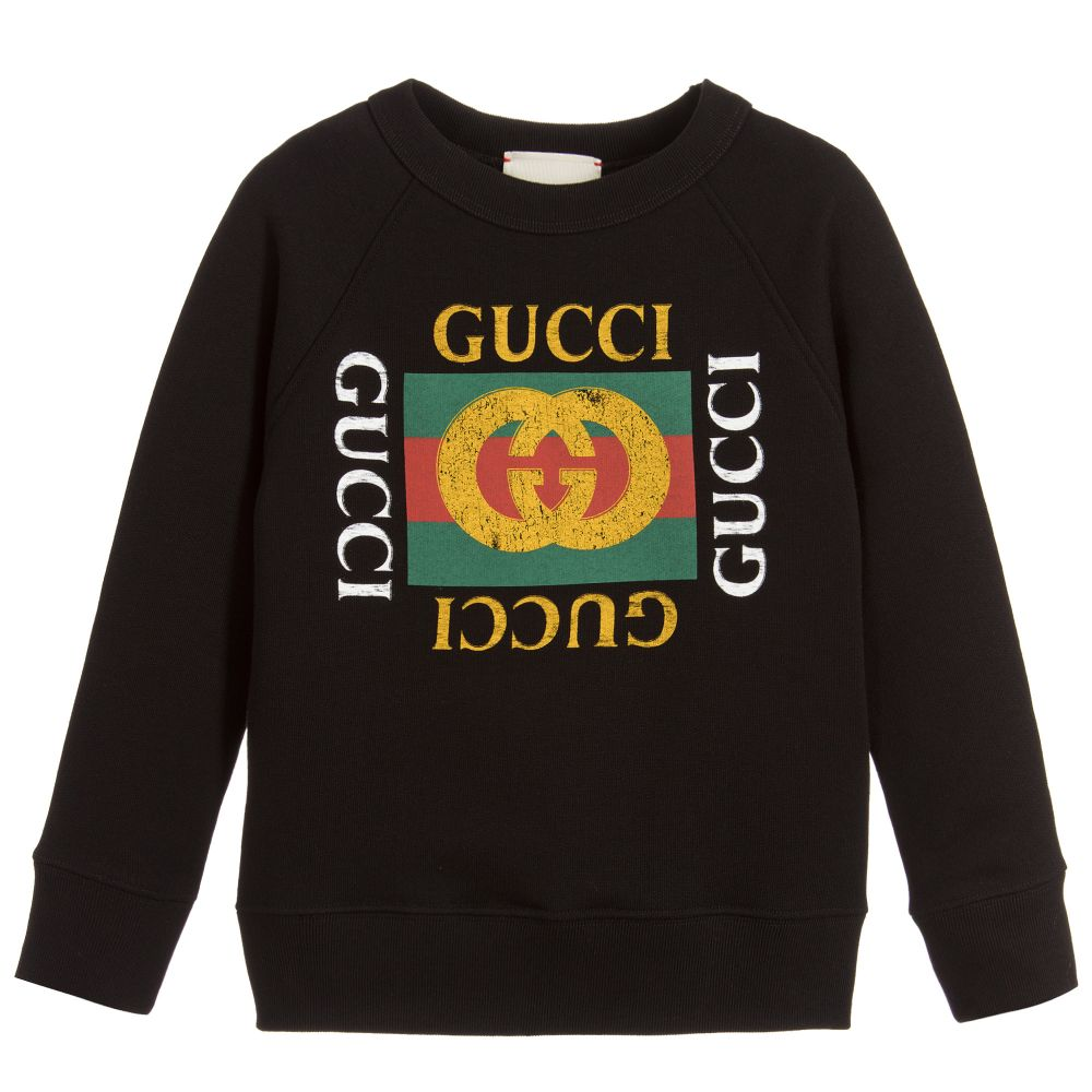 Black Cotton Logo Sweatshirt.