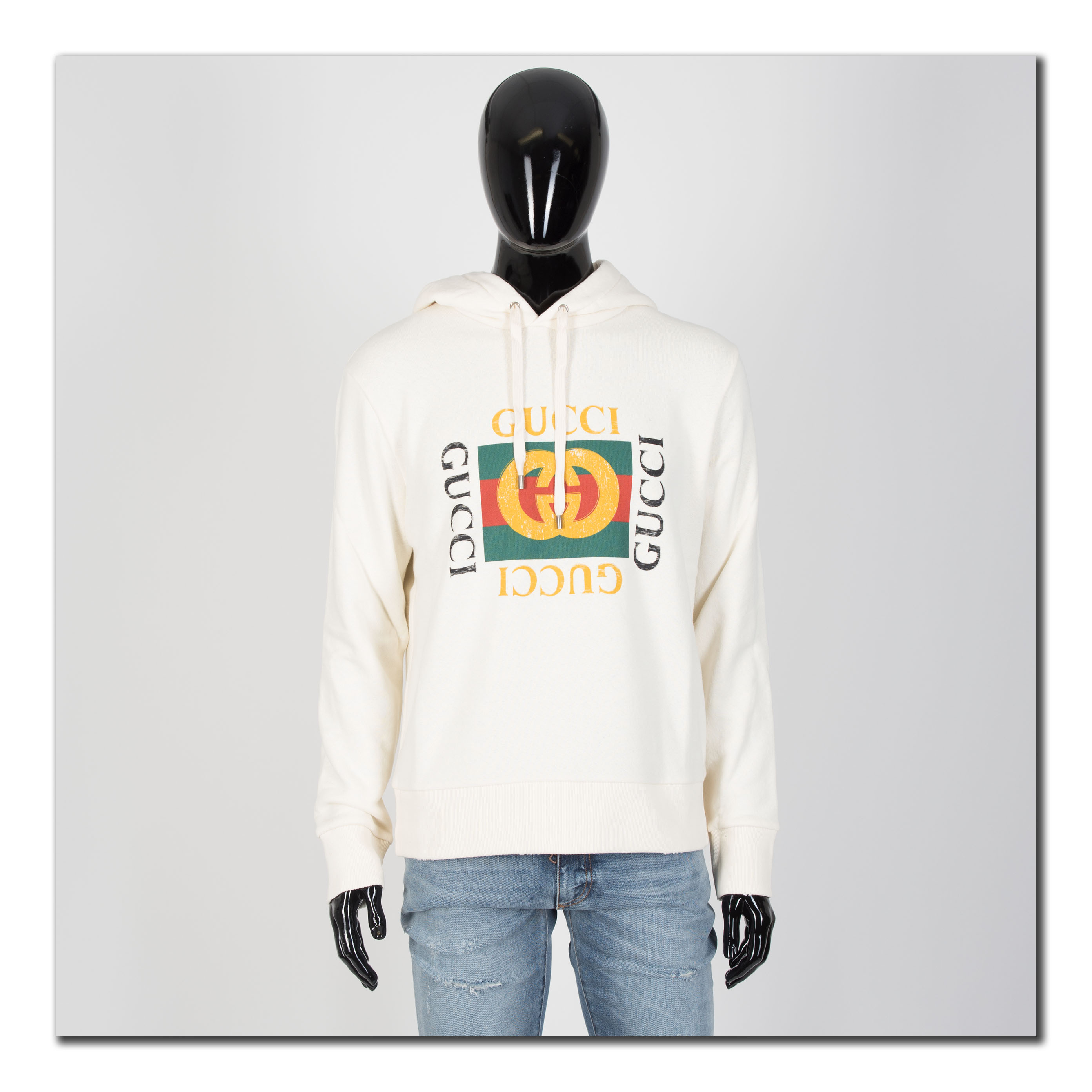 Details about GUCCI 1280$ Oversize Sweatshirt With Vintage Gucci Logo In  Off White.