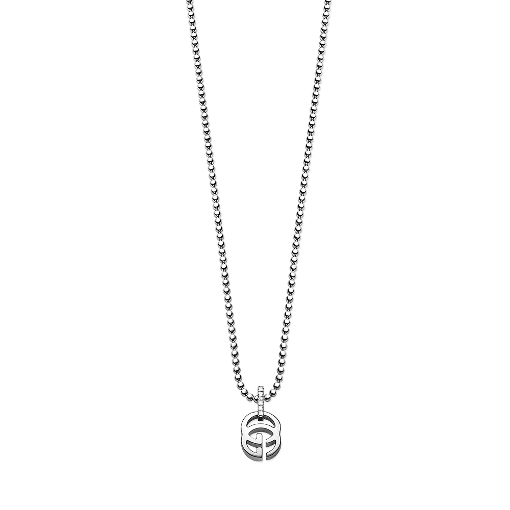 Running G 18ct White Gold Diamond Necklace.