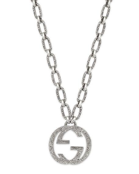 Men's Silver Interlocking G Pendant Necklace in Metallic.