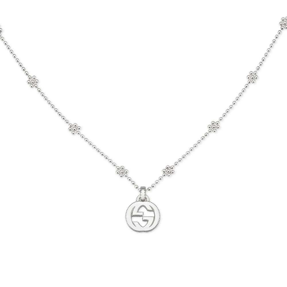 Interlocking G Sterling Silver Flower Link Necklace.