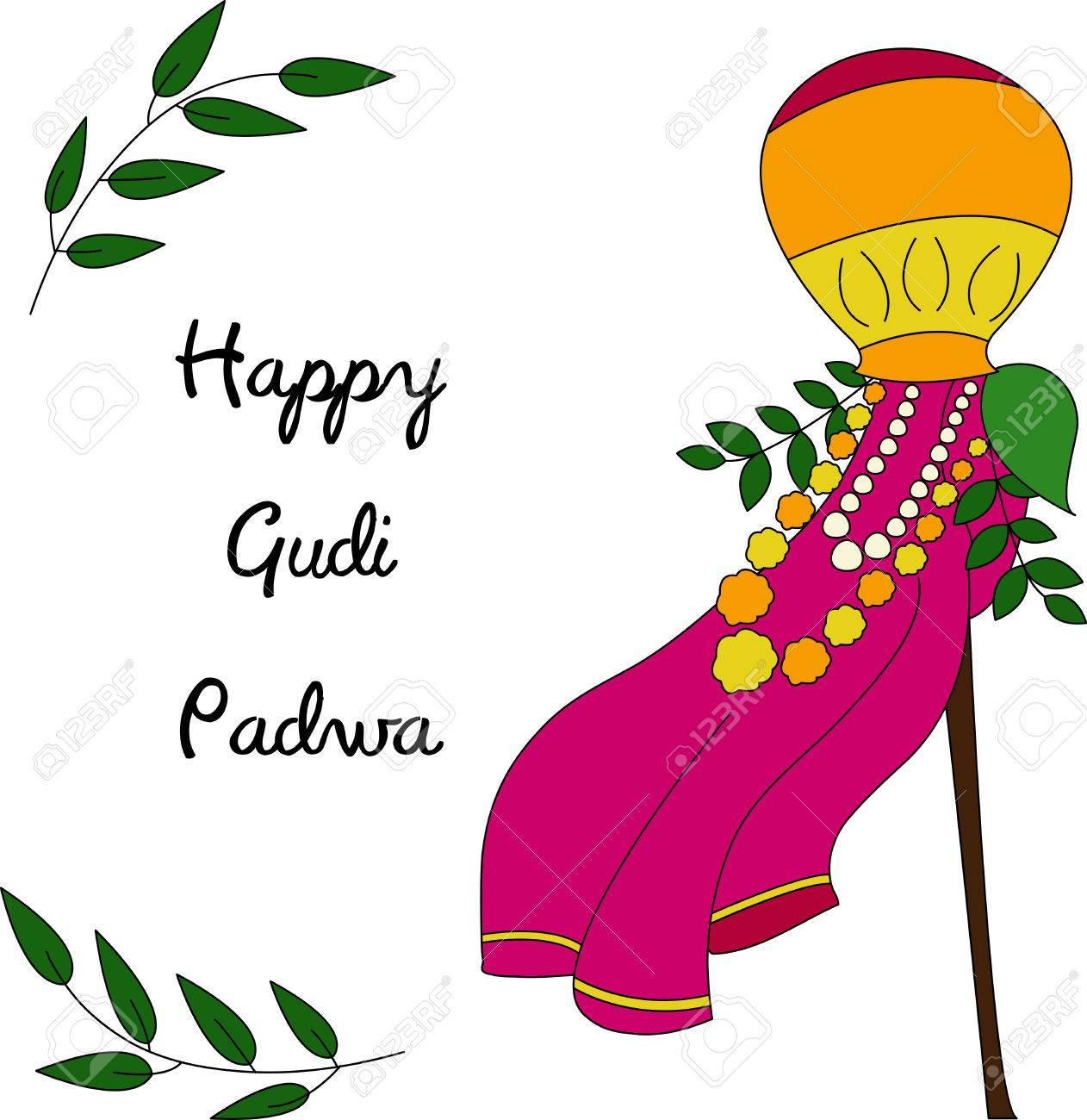 Happy Gudi Padwa colorful celebration card. Vector illustration...