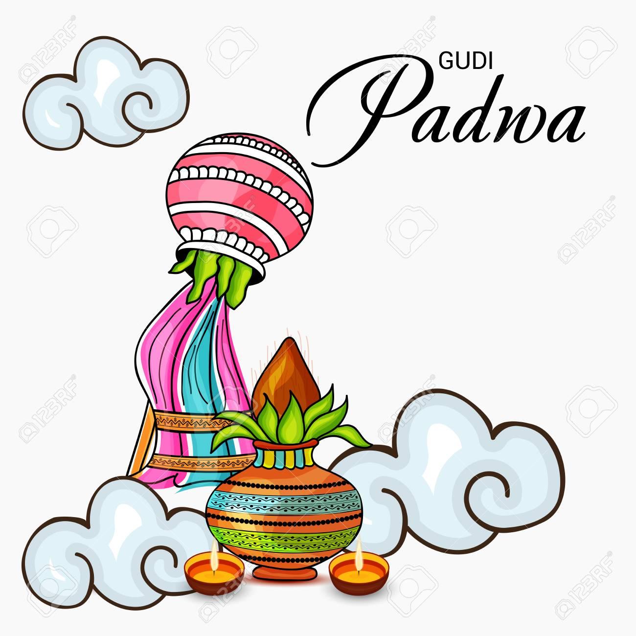Happy Gudi Padwa colorful banner..