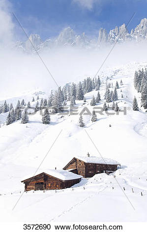 Stock Photography of Alp huts at the Hochkoenig in snow, Austria.