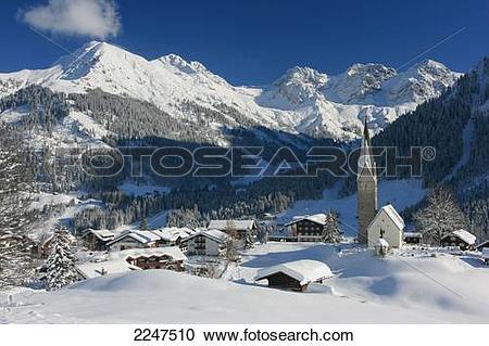 Stock Photography of Church in village, Kleinwalsertal, Mittelberg.