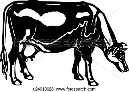Clip Art of , animal, breeds, cattle, cow, farm, guernsey.