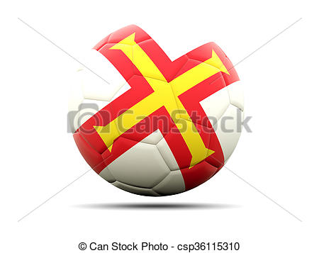 Clipart of Football with flag of guernsey. 3D illustration.