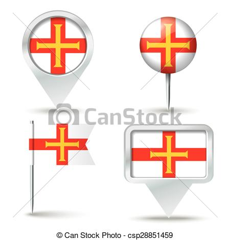 Clipart Vector of Map pins with flag of Guernsey.