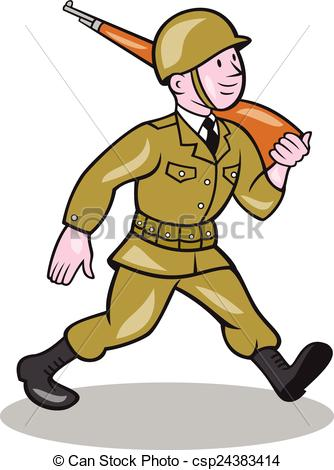 Vector Clip Art of World War Two Soldier American Cartoon Isolated.