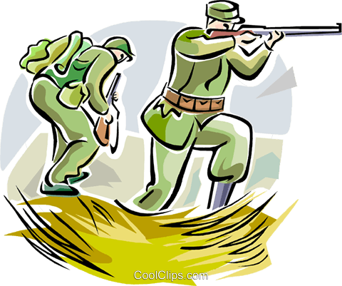WW1 soldiers with weapons Royalty Free Vector Clip Art.