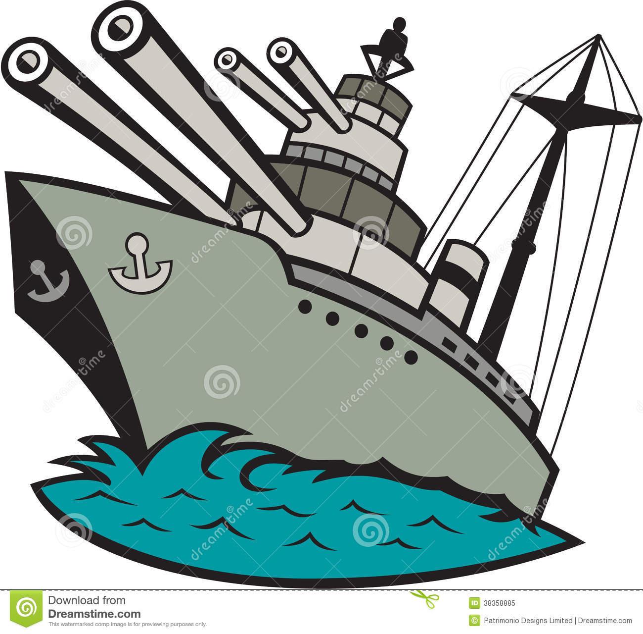 World War Two Battleship Cartoon Royalty Free Stock Photo.
