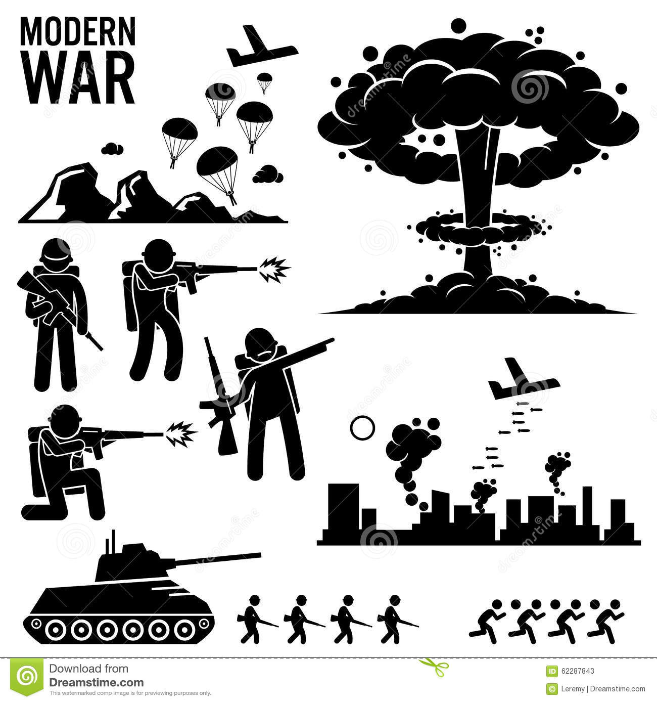 War Modern Warfare Nuclear Bomb Soldier Tank Attack Clipart Stock.