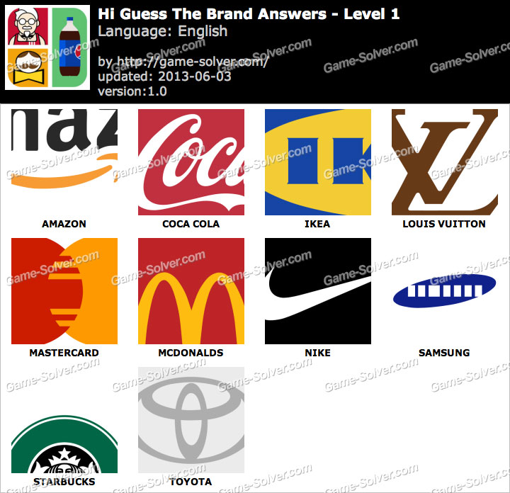 Hi Guess the Brand Answers.