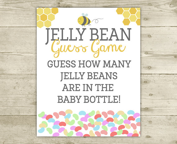 Bee Baby Shower Game Jelly Bean Guess Game Sign INSTANT.