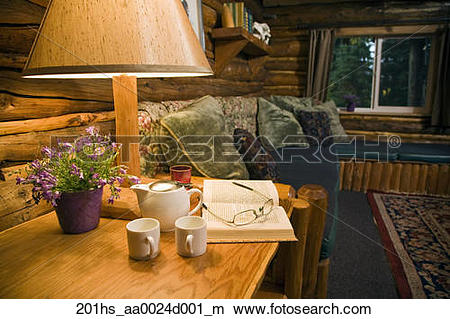 Stock Photo of Interior of a guest cabin at Winter Lake Lodge.