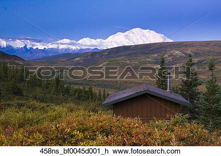 Stock Photo of Scenic view of Camp Denali and North Face Lodge.