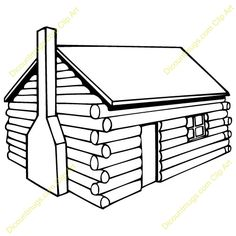 Log Cabin Coloring Page.