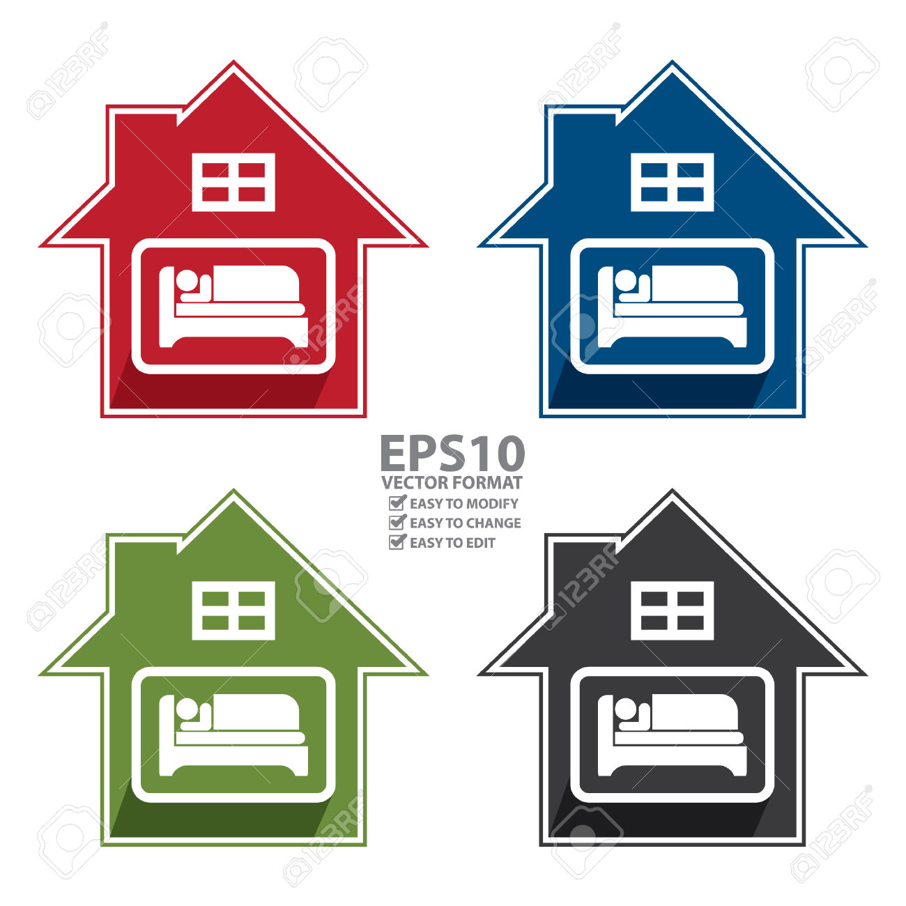 Vector : Colorful Hotel, Motel, Guesthouse Sign, Icon, Sticker.