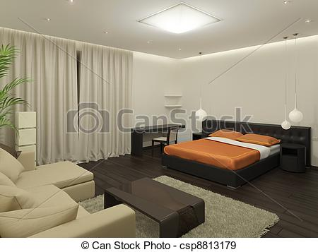 Stock Illustration of Guest room. It's 3D image. csp8813179.