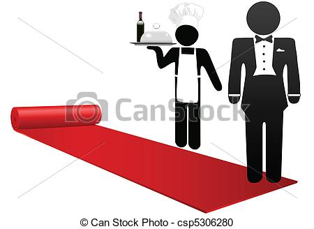 Vector Clipart of People roll out red carpet welcome hotel.
