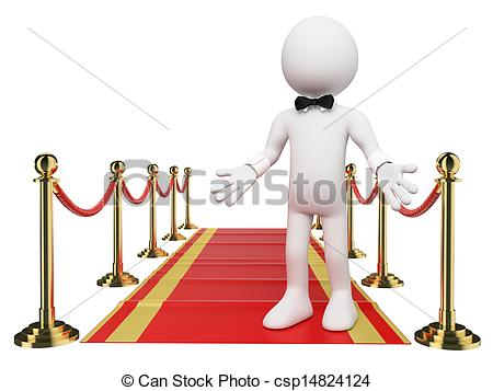 Clip Art of 3D white people. Welcome to the Red Carpet.