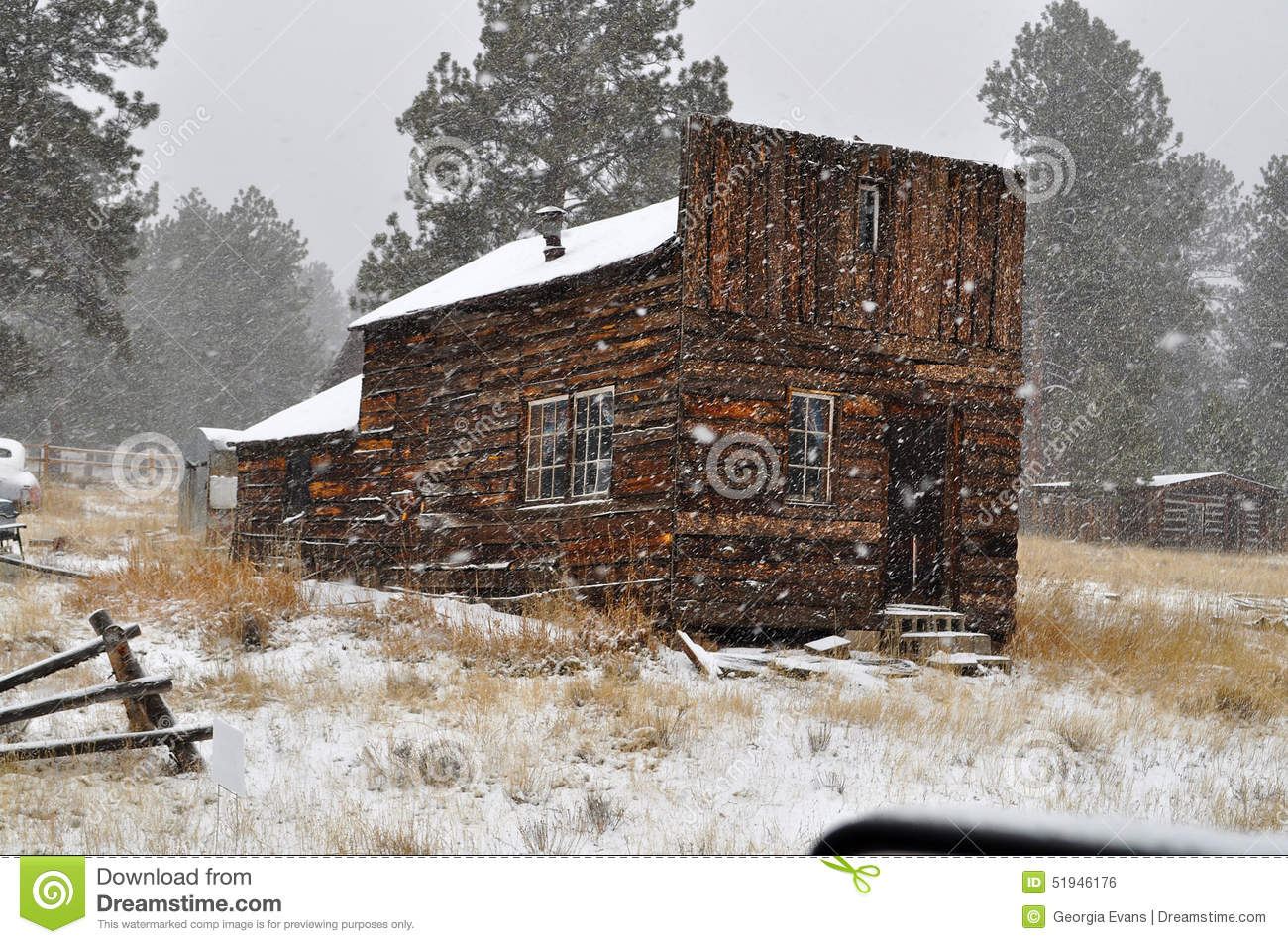 Historic Miners Assay Cabin In Guffey, Co During A Snow Storm.