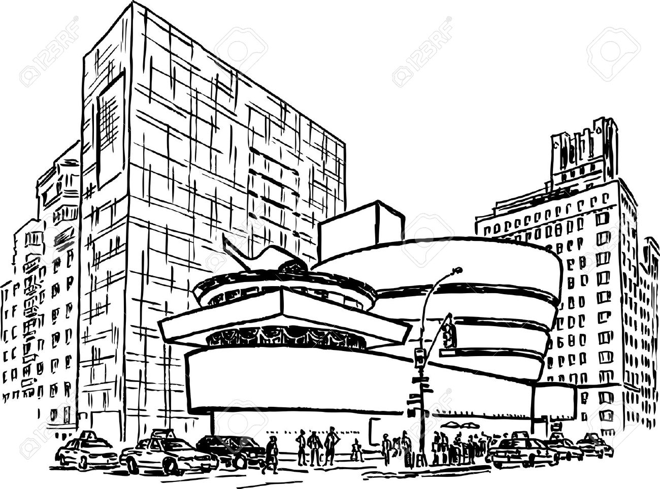 Guggenheim Museum In New York City Royalty Free Cliparts, Vectors.