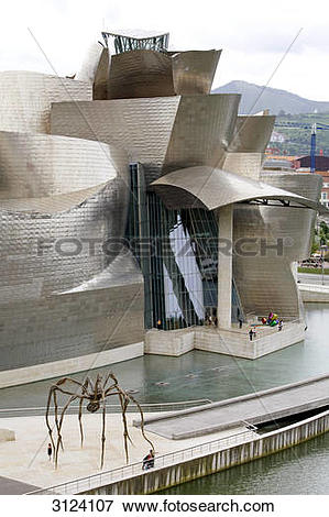 Picture of Guggenheim Museum, Bilbao, Spain, aerial perspective.