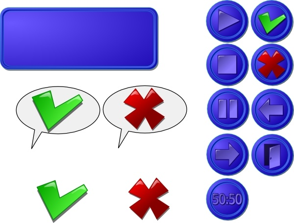 Collection Of Buttons Gui clip art Free vector in Open office.