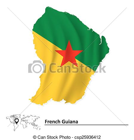 Vector Clip Art of Map of French Guiana with flag.